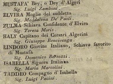Italiana in Algeri Firenze 1814